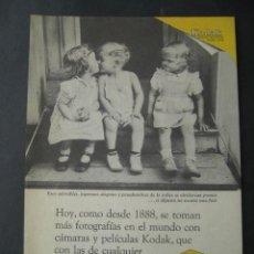 Cámara de fotos: CARRETE FOTOGRAFIA KODAK. ANTIGUA PUBLICIDAD ANUNCIO DE REVISTA DE LOS AÑOS 50. Lote 39436721
