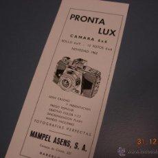 Appareil photos: 1962 PUBLICIDAD ORIGINAL CAMARA FOTOGRAFICA PRONTA LUX 6X6. Lote 40063159