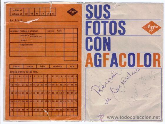 SOBRE FOTOS AGFACOLOR - AÑOS 60 (Cámaras Fotográficas - Catálogos, Manuales y Publicidad)