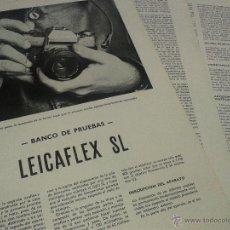 Cámara de fotos: ANTIGUO RECORTE DE PRENSA BANCO DE PRUEBAS LEICA FLEX SL AÑO 1971. Lote 41225648
