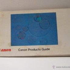 Cámara de fotos: GUIA DE PRODUCTOS CANON Nº D5077I AÑOS 70 CAMARAS, PROYECTORES, BINOCULARES, OBJETIVOS, SUPER 8. Lote 42243647