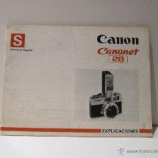 Cámara de fotos: MANUAL DE INSTRUCCIONES CANON CAMARA CANONET 28. Lote 42263521