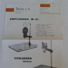 Cámara de fotos: ANTIGUO CATALOGO AMPLIADORAS DE FOTOGRAFIA AÑO 1970. Lote 42880121