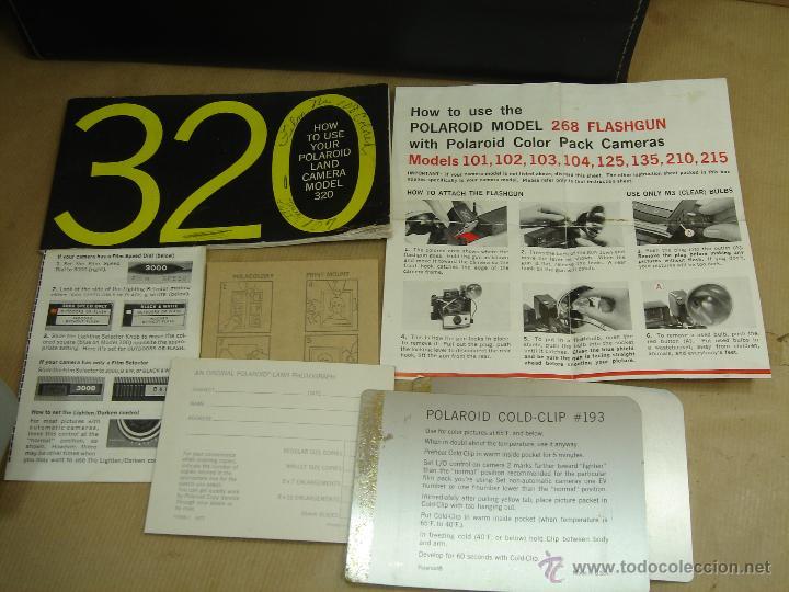 Cámara de fotos: POLAROID 320 AUTOMATIC + FLASHGUN BULBO 268 + FUNDA ORIGINAL + MANUAL - LAND CAMERA 1978 - Foto 17 - 42995030