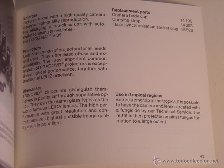 Cámara de fotos: Instrucciones Leitz camara leica m6 en inglés 43 páginas del año 1987 Nuevas - Foto 4 - 166071082