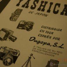 Cámara de fotos: CARTEL PUBLICITARIO ORIGINAL 1963 20X24 CM. PAPEL SATINADO CAMARA YASHICA. Lote 45815159