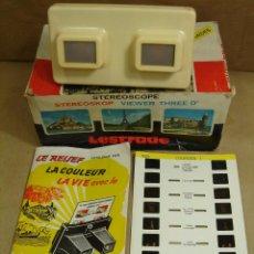 Cámara de fotos: VISOR ESTEREOSCOPICO 3D - LESTRADE SIMPLEX + CATALOGO + LAMINA LOURDES - MADE IN FRANCE 1972. Lote 45965756