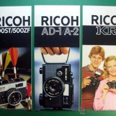 Cámara de fotos: LOTE TRES PANFLETOS PUBLICIDAD CAMARAS RICOH. Lote 46769362