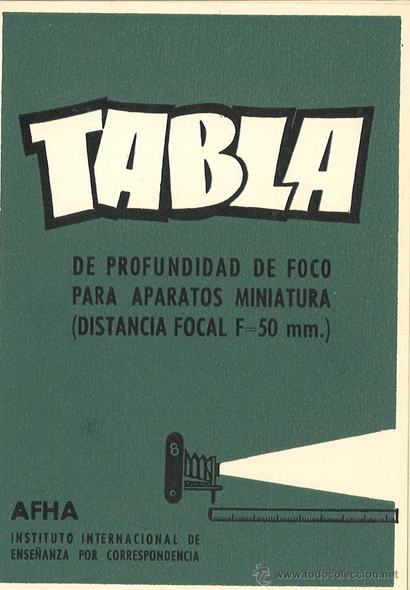 TABLA DE PROFUNDIDAD DE FOCO... - AFHA - FOTOGRAFÍA (Cámaras Fotográficas - Catálogos, Manuales y Publicidad)