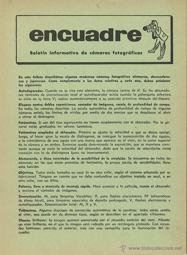 ENCUADRE - BOLETÍN INFORMATIVO DE CÁMARAS FOTOGRÁFICAS - FOTOGRAFÍA (Cámaras Fotográficas - Catálogos, Manuales y Publicidad)