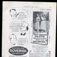 Cámara de fotos: NOVEMAIL PHOTO WAGRAM - RECORTE PUBLICIDAD HOJA REVISTA FRANCESA 1952. Lote 36876298