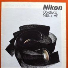 Cámara de fotos: NIKON - OBJETIVOS NIKKOR AF - FOLLETO PUBLICITARIO 10 PAGINAS AÑOS 90. Lote 49433818