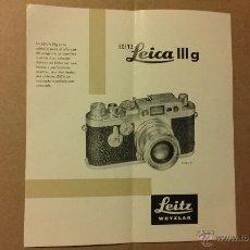 Cámara de fotos: CATALOGO CAMARAS FOTOGRAFIA LEICA III G FOTO. LEITZ WETZLAR. Lote 49652355