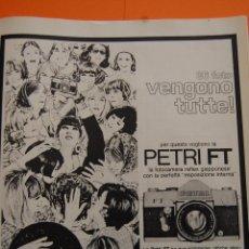Cámara de fotos: PUBLICIDAD 1968 - COLECCION CAMARAS - PETRI FT - ANUNCIO DE ITALIA. Lote 49705667