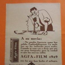 Cámara de fotos: PUBLICIDAD 1929 - COLECCION CAMARAS - AGFA FILM 1929. Lote 51128659