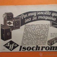 Cámara de fotos: PUBLICIDAD 1934 - COLECCION CAMARAS - AGFA ISOCHROM. Lote 51128705