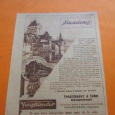 Cámara de fotos: PUBLICIDAD 1930 - COLECCION CAMARAS - VOIGFLANDER. Lote 51128743