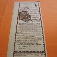 Cámara de fotos: PUBLICIDAD 1929 - COLECCION CAMARAS - APARATO FOTOGRAFICO MARCA QUILLET. Lote 51128753