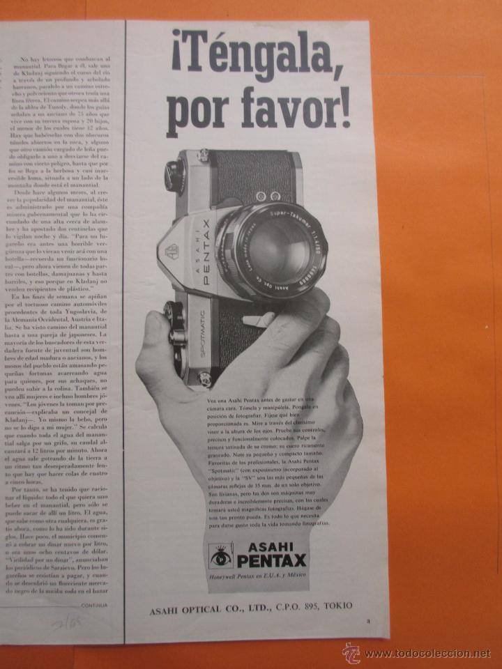 PUBLICIDAD 1969 - COLECCION CAMARAS - ASAHI PENTAX (Cámaras Fotográficas - Catálogos, Manuales y Publicidad)