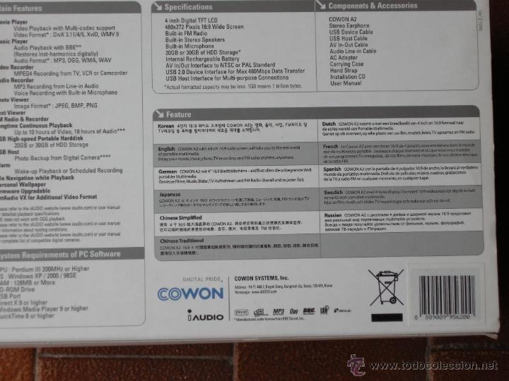 Cámara de fotos: REPRODUCTOR MULTIMEDIA DE DISCO DURO COWON A2 DE 20 GB,PANTALLA 4 PULGADAS, PANTALLA LCD 16:9 - Foto 13 - 52385959