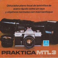 Cámara de fotos: CATÁLOGO PRAKTICA MTL 3 / TRÍPTICO. Lote 52448518