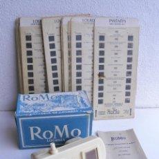 Cámara de fotos: VISOR ESTEREOSCOPICO ROMO CON MANUAL Y CAJA Y 11 CUADROS DE FOTOS - SOUVENIR DE LOURDES. Lote 52459075