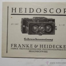 Cámara de fotos: FRANKE & HEIDECKE HEIDOSCOP TRIPTICO PUBLICITARIO. Lote 52971615