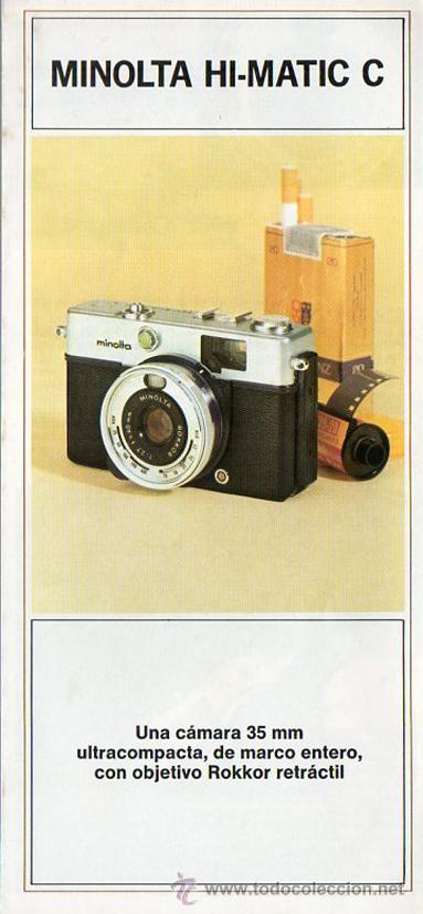 PUBLICIDAD CATALOGO CAMARA FOTOGRAFICA MINOLTA HI-MATIC C (Cámaras Fotográficas - Catálogos, Manuales y Publicidad)