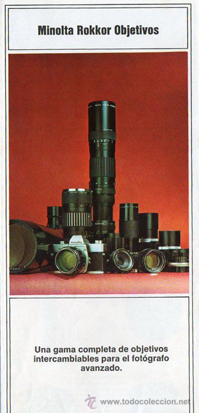 PUBLICIDAD CATALOGO CAMARA FOTOGRAFICA MINOLTA ROKKOR OBJETIVOS (Cámaras Fotográficas - Catálogos, Manuales y Publicidad)