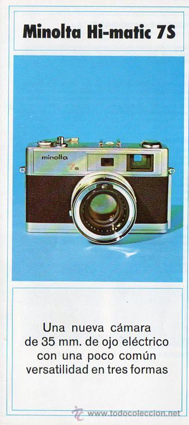 PUBLICIDAD CATALOGO CAMARA FOTOGRAFICA MINOLTA HI-MATIC 7S (Cámaras Fotográficas - Catálogos, Manuales y Publicidad)