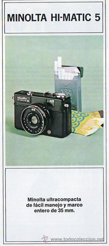 PUBLICIDAD CATALOGO CAMARA FOTOGRAFICA MINOLTA HI-MATIC 5 (Cámaras Fotográficas - Catálogos, Manuales y Publicidad)