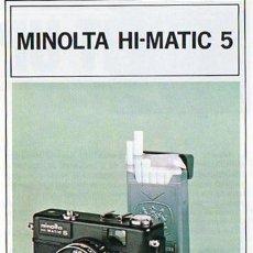 Cámara de fotos: PUBLICIDAD CATALOGO CAMARA FOTOGRAFICA MINOLTA HI-MATIC 5. Lote 54215161