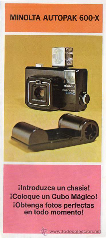 PUBLICIDAD CATALOGO CAMARA FOTOGRAFICA MINOLTA AUTOPAK 600-X (Cámaras Fotográficas - Catálogos, Manuales y Publicidad)