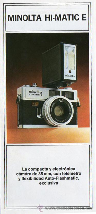 PUBLICIDAD CATALOGO CAMARA FOTOGRAFICA MINOLTA HI-MATIC E (Cámaras Fotográficas - Catálogos, Manuales y Publicidad)