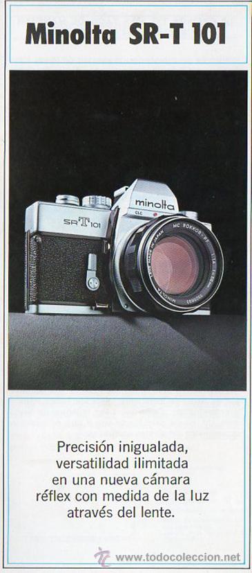 PUBLICIDAD CATALOGO CAMARA FOTOGRAFICA MINOLTA SR-T 101 (Cámaras Fotográficas - Catálogos, Manuales y Publicidad)