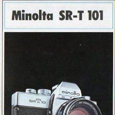 Cámara de fotos: PUBLICIDAD CATALOGO CAMARA FOTOGRAFICA MINOLTA SR-T 101. Lote 54237460