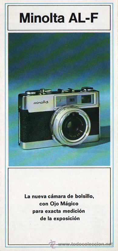 PUBLICIDAD CATALOGO CAMARA FOTOGRAFICA MINOLTA AL-F (Cámaras Fotográficas - Catálogos, Manuales y Publicidad)