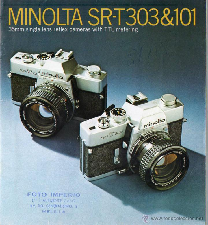 PUBLICIDAD CATALOGO CAMARA FOTOGRAFICA MINOLTA SRT 303&101 (Cámaras Fotográficas - Catálogos, Manuales y Publicidad)