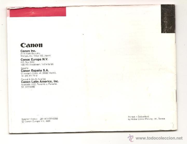 Cámara de fotos: MANUAL DE INSTRUCCIONES ORIGINAL CAMARA CANON EOS 750-850-750 QD , EN CASTELLANO - Foto 2 - 54247582
