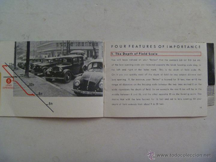 Cámara de fotos: PEQUEÑO MANUAL DE INSTRUCCIONES DE LA CAMARA RETINA DE KODAK. EN INGLES - Foto 2 - 54855372