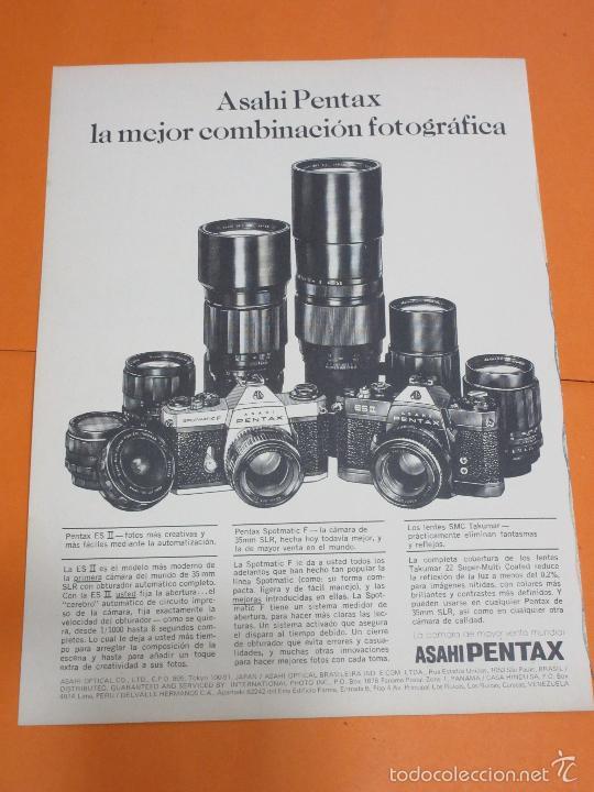 PUBLICIDAD 1974 - COLECCION CAMARAS - ASAHI PENTAX (Cámaras Fotográficas - Catálogos, Manuales y Publicidad)