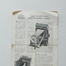 Appareil photos: MANUAL INSTRUCCIONES CAMARA FOTOGRAFICA ROSS ENSIGN SNAPPER AÑO 1953. Lote 55366050
