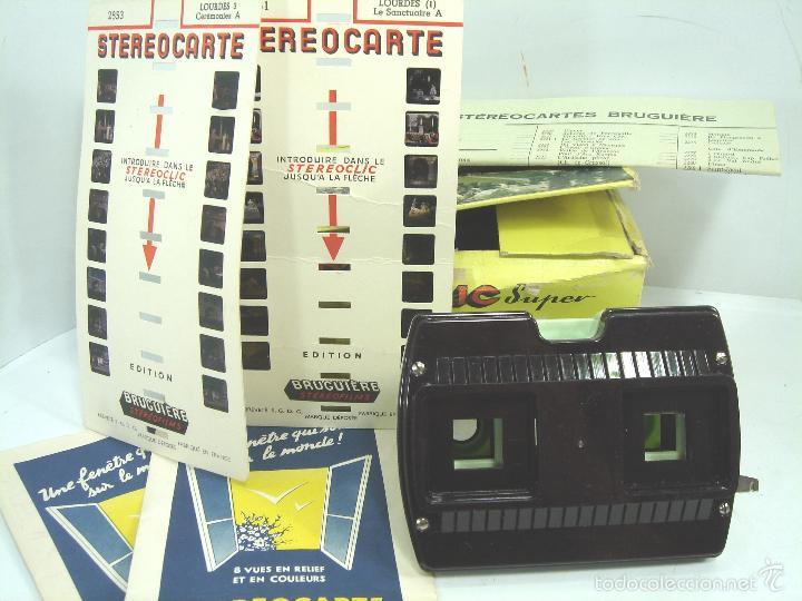VISOR ESTEREOSCOPICO 3D - STEREOCLIC SUPER BRUGUIERE + CATALOGO 1964 + 2 LAMINA LOURDES - FRANCE (Cámaras Fotográficas - Visores Estereoscópicos)