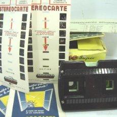 Cámara de fotos: VISOR ESTEREOSCOPICO 3D - STEREOCLIC SUPER BRUGUIERE + CATALOGO 1964 + 2 LAMINA LOURDES - FRANCE. Lote 56687351