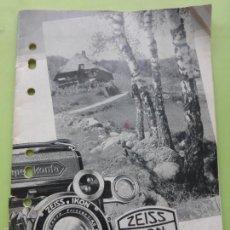 Cámara de fotos: ANTIGUO CATÁLOGO ZEISS IKON CÁMARAS FOTOS-OBJETIVOS-TRÍPODES-FILTROS, ETC.ORIGINAL 1935-FOTOGRAFÍA. Lote 57181285