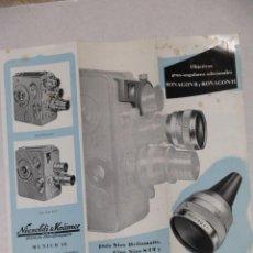 Cámara de fotos: FOLLETO PUBLICIDAD NIZO. OBJETIVOS RONAGON. 1955.. Lote 57195845