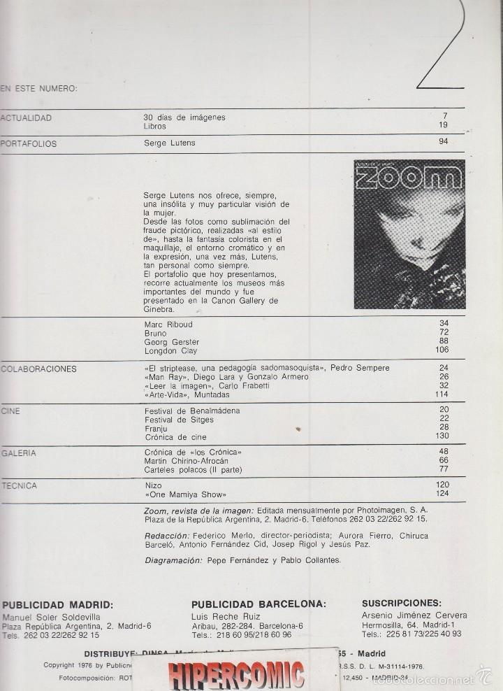 Cámara de fotos: ZOOM nº 2 : REVISTA DE LA IMAGEN , AÑOS 70 - PORTAFOLIO: VER INDICE , SERGE LUTENS - Foto 2 - 59995743