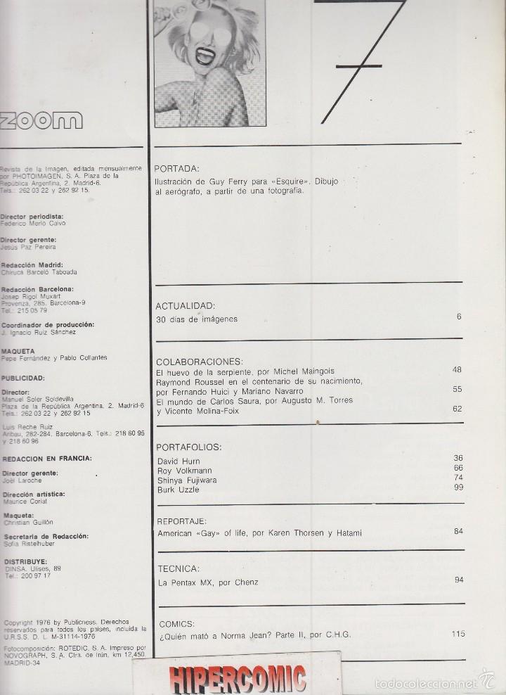 Cámara de fotos: ZOOM nº 7: REVISTA DE LA IMAGEN , AÑOS 70 - PORTAFOLIO: VER INDICE , - Foto 2 - 59996039