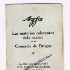 Appareil photos: AGFA - 1924 - LAS MATERIAS COLORANTES MAS USADAS EN EL COMERCIO DE DROGAS - LIBRITO ANTIGUO. Lote 60849463