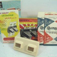 Cámara de fotos: VISOR ESTEREOSCOPICO 3D - LESTRADE SIMPLEX + 2 CATALOGOS + 2 LAMINA LOURDES - MADE IN FRANCE 1972. Lote 61858116